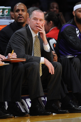 Nov 24, 2013; Los Angeles, CA, USA;  Sacramento Kings head coach Michael Malone during the game against the Los Angeles Lakers at Staples Center. Lakers won 100-86. Mandatory Credit: Jayne Kamin-Oncea-USA TODAY Sports