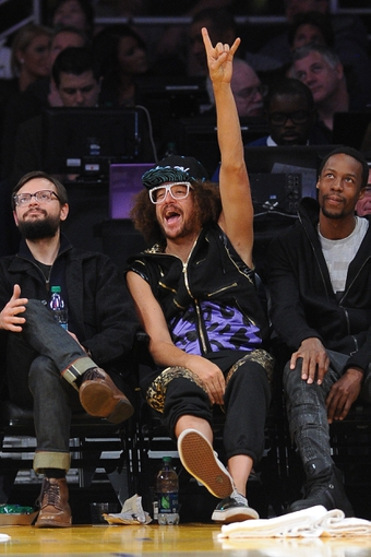 Nov 24, 2013; Los Angeles, CA, USA;  Rapper Redfoo watches the game between the Los Angeles Lakers the Sacramento Kings at Staples Center. Lakers won 100-86. Mandatory Credit: Jayne Kamin-Oncea-USA TODAY Sports