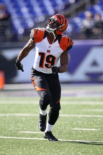 Nov 10, 2013; Baltimore, MD, USA;  Cincinnati Bengals kick returner Brandon Tate (19) warms up prior to the game against the Baltimore Ravens at M&T Bank Stadium. Mandatory Credit: Mitch Stringer-USA TODAY Sports