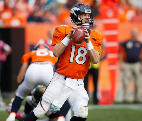 Oct 13, 2013; Denver, CO, USA; Denver Broncos quarterback Peyton Manning (18) during the game against the Jacksonville Jaguars at Sports Authority Field at Mile High. Mandatory Credit: Chris Humphreys-USA TODAY Sports