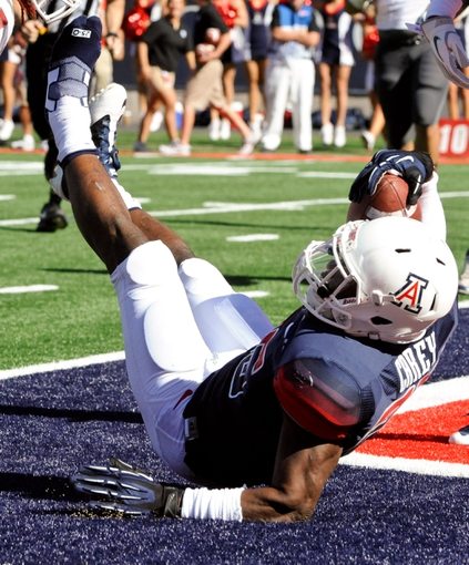 Nov 16, 2013; Tucson, AZ, USA; Arizona Wildcats running back Ka  Deem Carey (25) scores a touchdown against the Washington State Cougars during the second quarter at Arizona Stadium. The Cougars beat the Wildcats 24-17. Mandatory Credit: Casey Sapio-USA TODAY Sports