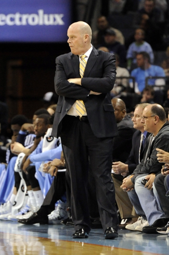 Nov 25, 2013; Charlotte, NC, USA; Charlotte Bobcats head coach Steve Clifford during the first half of the game against the Boston Celtics at Time Warner Cable Arena. Mandatory Credit: Sam Sharpe-USA TODAY Sports