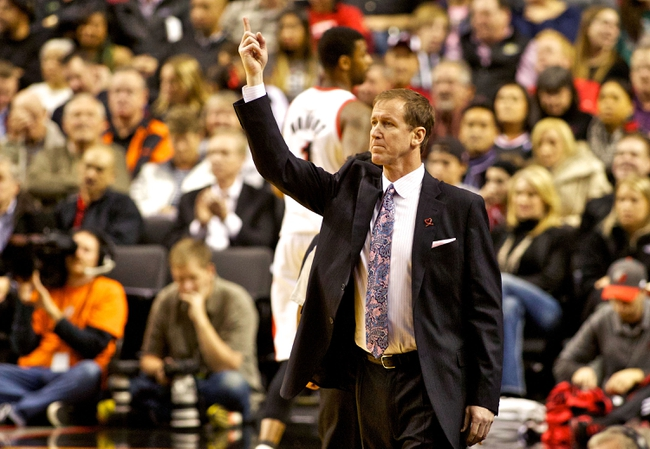 Nov 25, 2013; Portland, OR, USA; Portland Trail Blazers head coach Terry Stotts calls a play against the New York Knicks at the Moda Center. Mandatory Credit: Craig Mitchelldyer-USA TODAY Sports