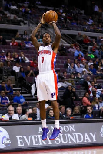 Nov 25, 2013; Auburn Hills, MI, USA; Detroit Pistons point guard Brandon Jennings (7) shoots in the second half against the Milwaukee Bucks at The Palace of Auburn Hills. Detroit won 113 to 94. Mandatory Credit: Rick Osentoski-USA TODAY Sports