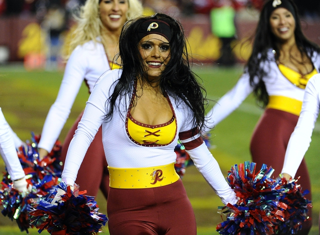 Nov 25, 2013; Landover, MD, USA; Washington Redskins cheerleaders perform during the game against the San Francisco 49ers during the second half at FedEx Field. The 49ers won 27-6. Mandatory Credit: Brad Mills-USA TODAY Sports
