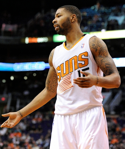 Nov 10, 2013; Phoenix, AZ, USA; Phoenix Suns power forward Marcus Morris (15) reacts during the third quarter against the New Orleans Pelicans at US Airways Center. The Suns beat the Pelicans 101-94. Mandatory Credit: Casey Sapio-USA TODAY Sports