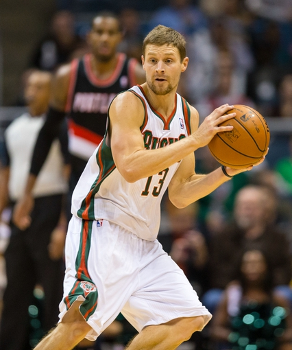 Nov 20, 2013; Milwaukee, WI, USA; Milwaukee Bucks guard Luke Ridnour (13) during the game against the Portland Trail Blazers at BMO Harris Bradley Center.  Portland won 91-82.  Mandatory Credit: Jeff Hanisch-USA TODAY Sports