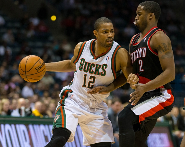 Nov 20, 2013; Milwaukee, WI, USA; Milwaukee Bucks guard Gary Neal (12) during the game against the Portland Trail Blazers at BMO Harris Bradley Center.  Portland won 91-82.  Mandatory Credit: Jeff Hanisch-USA TODAY Sports
