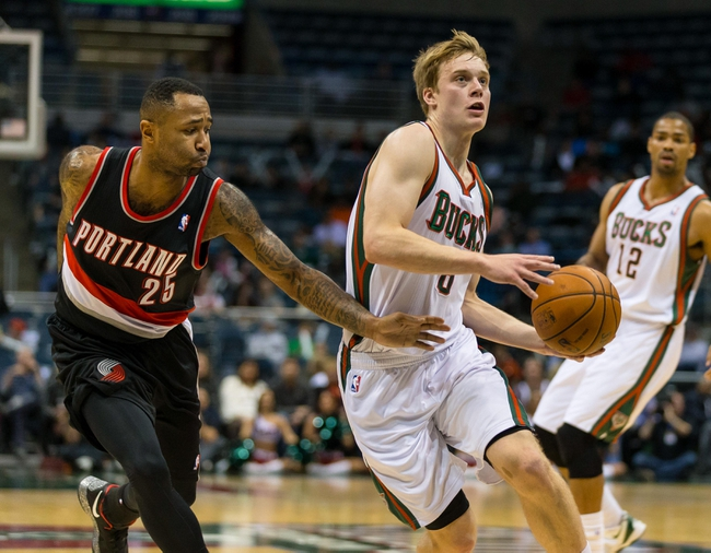 Nov 20, 2013; Milwaukee, WI, USA; Milwaukee Bucks guard Nate Wolters (6) during the game against the Portland Trail Blazers at BMO Harris Bradley Center.  Portland won 91-82.  Mandatory Credit: Jeff Hanisch-USA TODAY Sports