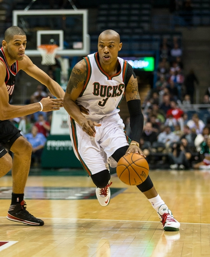 Nov 20, 2013; Milwaukee, WI, USA; Milwaukee Bucks forward Caron Butler (3) during the game against the Portland Trail Blazers at BMO Harris Bradley Center.  Portland won 91-82.  Mandatory Credit: Jeff Hanisch-USA TODAY Sports