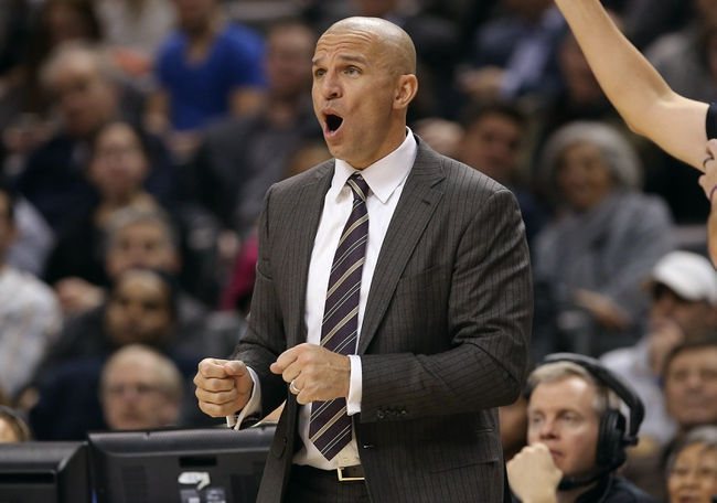 Nov 26, 2013; Toronto, Ontario, CAN; Brooklyn Nets head coach Jason Kidd reacts from the sideline against the Toronto Raptors at Air Canada Centre. The Nets beat the Raptors 102-100. Mandatory Credit: Tom Szczerbowski-USA TODAY Sports