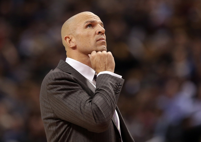 Nov 26, 2013; Toronto, Ontario, CAN; Brooklyn Nets head coach Jason Kidd looks on during their game against the Toronto Raptors at Air Canada Centre. The Nets beat the Raptors 102-100. Mandatory Credit: Tom Szczerbowski-USA TODAY Sports