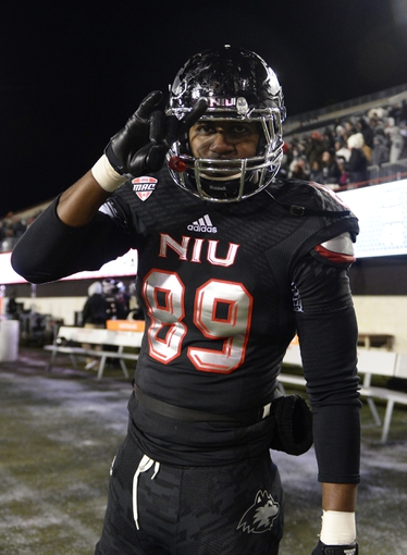 Nov 26, 2013; DeKalb, IL, USA;Northern Illinois Huskies wide receiver Blake Holder (89) reacts after the game at Huskie Stadium. NIU defeats Western Michigan 33-14. Mandatory Credit: Mike DiNovo-USA TODAY Sports
