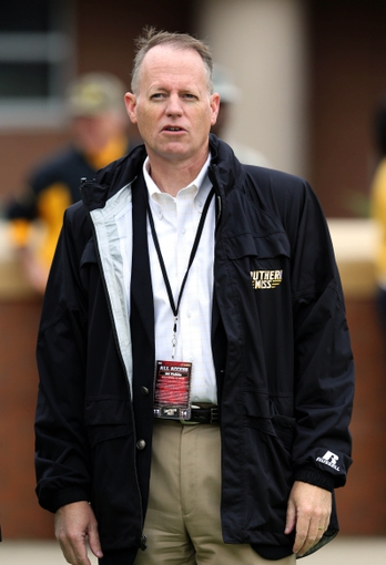 Nov 16, 2013; Hattiesburg, MS, USA; Southern Mississippi Golden Eagles director of athletics Bill McGillis watches pre-game activities before their game against the Florida Atlantic Owls at M.M. Roberts Stadium. Mandatory Credit: Chuck Cook-USA TODAY Sports