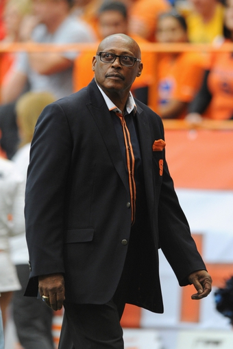 Nov 23, 2013; Syracuse, NY, USA; Syracuse Orange alum Floyd Little walks off the field against the Pittsburgh Panthers during the second quarter at the Carrier Dome.  Pittsburgh defeated Syracuse 17-16.  Mandatory Credit: Rich Barnes-USA TODAY Sports