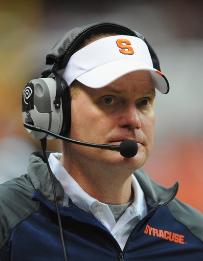 Nov 23, 2013; Syracuse, NY, USA; Syracuse Orange head coach Scott Shafer looks on against the Pittsburgh Panthers during the fourth quarter at the Carrier Dome.  Pittsburgh defeated Syracuse 17-16.  Mandatory Credit: Rich Barnes-USA TODAY Sports