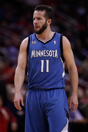 Nov 23, 2013; Houston, TX, USA; Minnesota Timberwolves point guard J.J. Barea (11) during the third quarter at Toyota Center. Mandatory Credit: Andrew Richardson-USA TODAY Sports