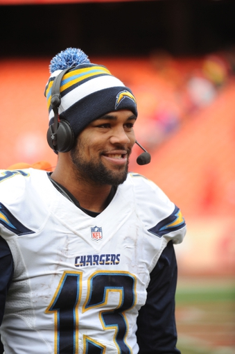 Nov 24, 2013; Kansas City, MO, USA; San Diego Chargers wide receiver Keenan Allen (13) talks to media after the game against the Kansas City Chiefs at Arrowhead Stadium. The Chargers won 41-38. Mandatory Credit: Denny Medley-USA TODAY Sports