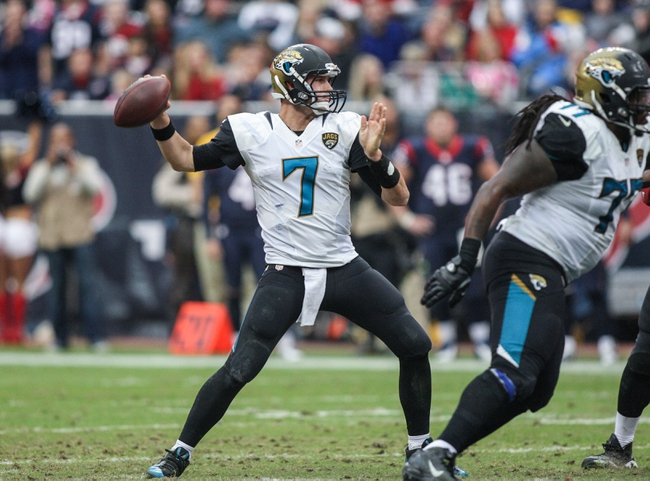 Nov 24, 2013; Houston, TX, USA; Jacksonville Jaguars quarterback Chad Henne (7) attempts a pass during the third quarter against the Houston Texans at Reliant Stadium. Mandatory Credit: Troy Taormina-USA TODAY Sports