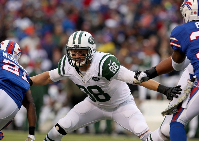 Nov 17, 2013; Orchard Park, NY, USA; New York Jets tight end Konrad Reuland (88) against the Buffalo Bills at Ralph Wilson Stadium. Bills beat the Jets 37 to 14.  Mandatory Credit: Timothy T. Ludwig-USA TODAY Sports