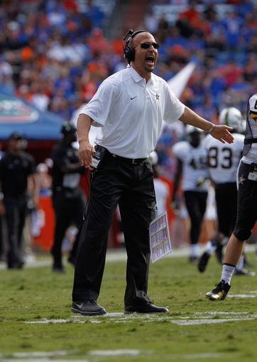 Nov 9, 2013; Gainesville, FL, USA; Vanderbilt Commodores head coach James Franklin against the Florida Gators during the second half at Ben Hill Griffin Stadium. Vanderbilt Commodores defeated the Florida Gators 34-17. Mandatory Credit: Kim Klement-USA TODAY Sports