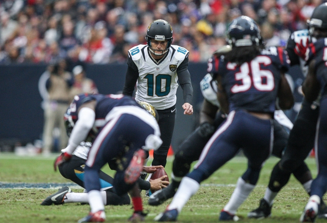Nov 24, 2013; Houston, TX, USA; Jacksonville Jaguars kicker Josh Scobee (10) attempts a field goal during the third quarter against the Houston Texans at Reliant Stadium. Mandatory Credit: Troy Taormina-USA TODAY Sports