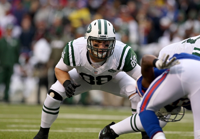 Nov 17, 2013; Orchard Park, NY, USA; New York Jets tight end Konrad Reuland (88) waits for the play against the Buffalo Bills at Ralph Wilson Stadium. Bills beat the Jets 37 to 14.  Mandatory Credit: Timothy T. Ludwig-USA TODAY Sports