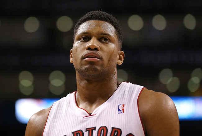 Nov 22, 2013; Toronto, Ontario, CAN; Toronto Raptors forward Rudy Gay (22) against the Washington Wizards at Air Canada Centre. The Raptors beat the Wizards 96-88. Mandatory Credit: Tom Szczerbowski-USA TODAY Sports