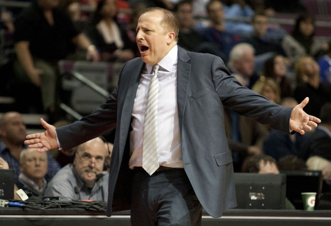 Nov 27, 2013; Auburn Hills, MI, USA; Chicago Bulls head coach Tom Thibodeau yells at a referee during the second quarter against the Detroit Pistons at The Palace of Auburn Hills. Mandatory Credit: Raj Mehta-USA TODAY Sports