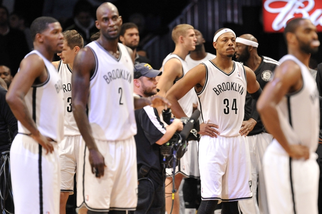 Nov 27, 2013; Brooklyn, NY, USA; Brooklyn Nets players look on against the Los Angeles Lakers during the second half at Barclays Center. The Lakers won 99-94. Mandatory Credit: Joe Camporeale-USA TODAY Sports