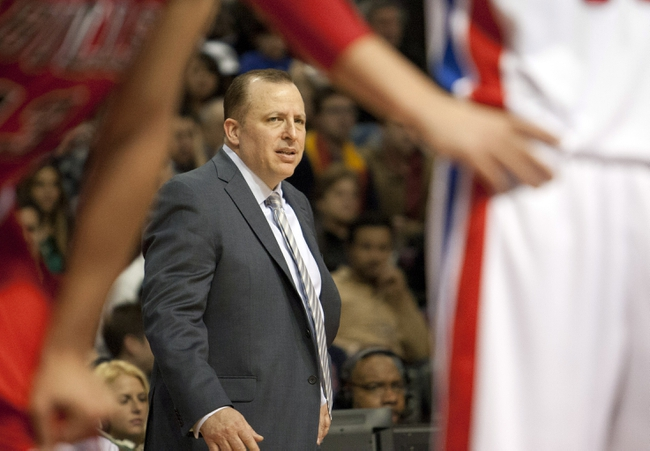 Nov 27, 2013; Auburn Hills, MI, USA; Chicago Bulls head coach Tom Thibodeau looks on during the fourth quarter against the Detroit Pistons at The Palace of Auburn Hills. Bulls beat the Pistons 99-79. Mandatory Credit: Raj Mehta-USA TODAY Sports