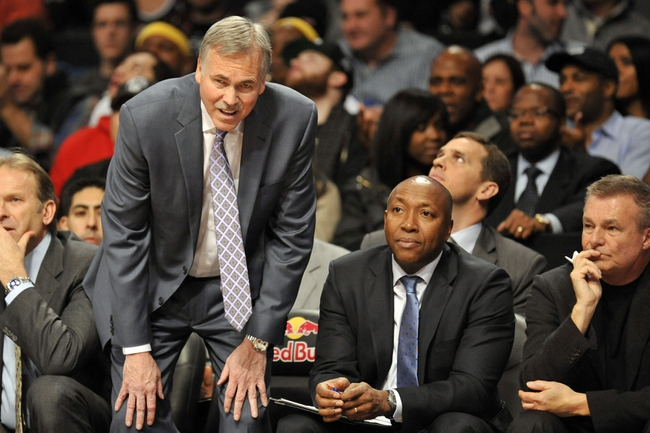 Nov 27, 2013; Brooklyn, NY, USA; Los Angeles Lakers head coach Mike D'Antoni looks on against the Brooklyn Nets during the second half at Barclays Center. The Lakers won 99-94. Mandatory Credit: Joe Camporeale-USA TODAY Sports