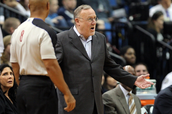 Nov 27, 2013; Minneapolis, MN, USA; Minnesota Timberwolves head coach Rick Adelman argues a call during the fourth quarter against the Denver Nuggets at Target Center. The Nuggets defeated the Timberwolves 117-110. Mandatory Credit: Brace Hemmelgarn-USA TODAY Sports