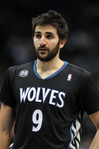 Nov 27, 2013; Minneapolis, MN, USA; Minnesota Timberwolves guard Ricky Rubio (9) looks on during the fourth quarter against the Denver Nuggets at Target Center. The Nuggets defeated the Timberwolves 117-110. Mandatory Credit: Brace Hemmelgarn-USA TODAY Sports