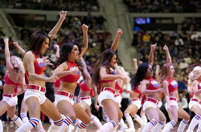 Nov 27, 2013; Auburn Hills, MI, USA; Detroit Pistons dance team performs during the third quarter against the Chicago Bulls at The Palace of Auburn Hills. Bulls beat the Pistons 99-79. Mandatory Credit: Raj Mehta-USA TODAY Sports