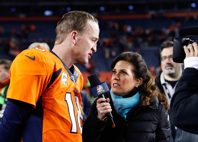 Nov 17, 2013; Denver, CO, USA; Denver Broncos quarterback Peyton Manning (18) is interviewed after the game against the Kansas City Chiefs at Sports Authority Field at Mile High. The Broncos won 27-17. Mandatory Credit: Isaiah J. Downing-USA TODAY Sports