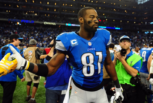 Nov 28, 2013; Detroit, MI, USA; Detroit Lions wide receiver Calvin Johnson (81) after a NFL football game on Thanksgiving against the Green Bay Packers at Ford Field. Detroit Lions defeated the Green Bay Packers 40-10. Mandatory Credit: Andrew Weber-USA TODAY Sports