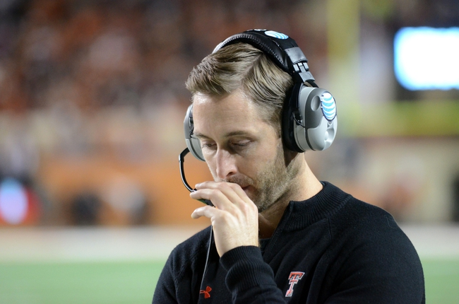 Nov 28, 2013; Austin, TX, USA; Texas Tech Red Raiders head coach Kliff Kingsbury reacts against the Texas Longhorns during the second half at Darrell K Royal-Texas Memorial Stadium. Texas beat Texas Tech 41-16. Mandatory Credit: Brendan Maloney-USA TODAY Sports
