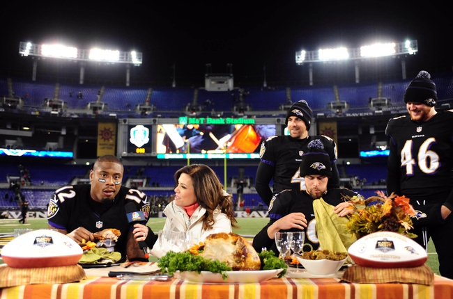 Nov 28, 2013; Baltimore, MD, USA; Baltimore Ravens kicker Justin Tucker (9) and wide receiver Jacoby Jones (12) are interviewed by NBC personality Michele Tafoya (center) after beating the Pittsburgh Steelers 22-20 during a NFL football game on Thanksgiving at M&T Bank Stadium. Mandatory Credit: Evan Habeeb-USA TODAY Sports