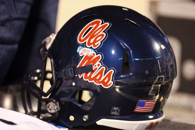 Nov 28, 2013; Starkville, MS, USA; Mississippi Rebels helmet during the game against the Mississippi State Bulldogs at Davis Wade Stadium. Mississippi State Bulldogs defeat the Mississippi Rebels with a score of 17-10 in overtime.  Mandatory Credit: Spruce Derden-USA TODAY Sports