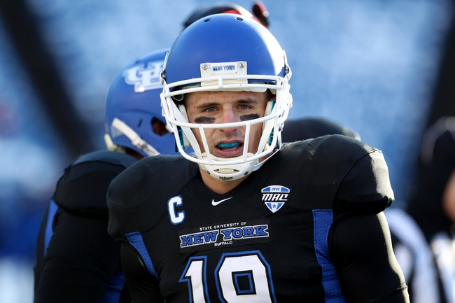 Nov 29, 2013; Buffalo, NY, USA; Buffalo Bulls wide receiver Alex Neutz (19) during the first half against the Bowling Green Falcons at Ralph Wilson Stadium. Mandatory Credit: Timothy T. Ludwig-USA TODAY Sports