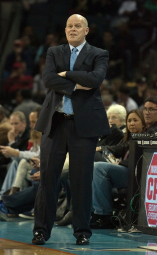 Nov 29, 2013; Charlotte, NC, USA; Charlotte Bobcats head coach Steve Clifford looks on during the first half against the Milwaukee Bucks at Time Warner Cable Arena. Mandatory Credit: Jeremy Brevard-USA TODAY Sports