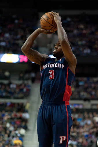 Nov 29, 2013; Auburn Hills, MI, USA; Detroit Pistons shooting guard Rodney Stuckey (3) during the third quarter against the Los Angeles Lakers at The Palace of Auburn Hills. Lakers won 106-102. Mandatory Credit: Tim Fuller-USA TODAY Sports