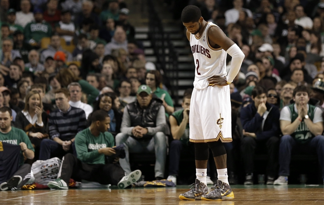 Nov 29, 2013; Boston, MA, USA; Cleveland Cavaliers point guard Kyrie Irving (2) reacts during the second half of their 103-86 loss to the Boston Celtics  at TD Garden. Mandatory Credit: Winslow Townson-USA TODAY Sports