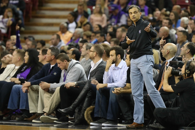 Nov 29, 2013; Sacramento, CA, USA; Sacramento Kings majority owner Vivek Ranadive argues for Kings possession against the Los Angeles Clippers during the third quarter at Sleep Train Arena. The Los Angeles Clippers defeated the Sacramento Kings 104-98 in overtime. Mandatory Credit: Kelley L Cox-USA TODAY Sports