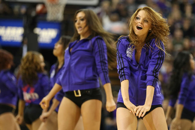 Nov 29, 2013; Sacramento, CA, USA; Sacramento Kings dancers perform during a timeout against the Los Angeles Clippers during the fourth quarter at Sleep Train Arena. The Los Angeles Clippers defeated the Sacramento Kings 104-98 in overtime. Mandatory Credit: Kelley L Cox-USA TODAY Sports