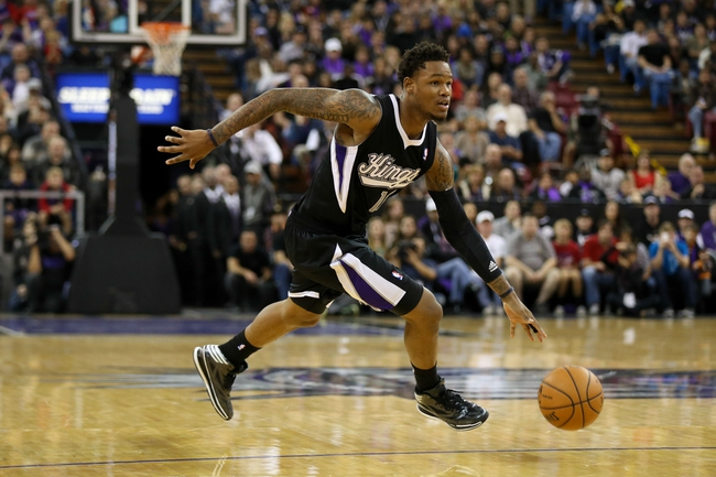 Nov 29, 2013; Sacramento, CA, USA; Sacramento Kings shooting guard Ben McLemore (16) dribbles the ball against the Los Angeles Clippers during the overtime period at Sleep Train Arena. The Los Angeles Clippers defeated the Sacramento Kings 104-98 in overtime. Mandatory Credit: Kelley L Cox-USA TODAY Sports