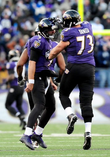 Nov 24, 2013; Baltimore, MD, USA; Baltimore Ravens quarterback Joe Flacco (5) is congratulated by offensive guard Marshall Yanda (73) after throwing a touchdown during the game against the New York Jets at M&T Bank Stadium. Mandatory Credit: Evan Habeeb-USA TODAY Sports