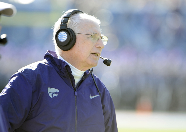 Nov 30, 2013; Lawrence, KS, USA; Kansas State Wildcats head coach Bill Snyder on the sidelines against the Kansas Jayhawks in the first half at Memorial Stadium. Mandatory Credit: John Rieger-USA TODAY Sports