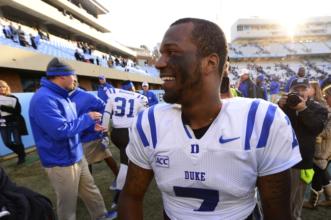 Nov 30, 2013; Chapel Hill, NC, USA;  Duke Blue Devils quarterback Anthony Boone (7) after the game. The Duke Blue Devils defeated the North Carolina Tar Heels 27-25 at Kenan Memorial Stadium. Mandatory Credit: Bob Donnan-USA TODAY Sports